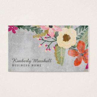 色彩の鮮やかな花模様の名刺/ピンク及び灰色 名刺