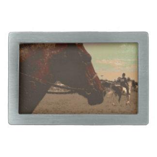 色彩の鮮やかな馬 長方形ベルトバックル