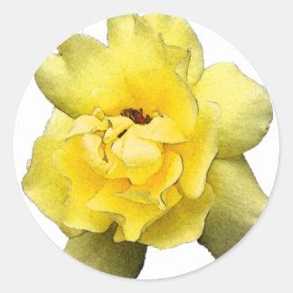 色彩の鮮やかな黄色バラ ラウンドシール