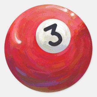 色彩の鮮やかな3玉突の玉パターン ラウンドシール