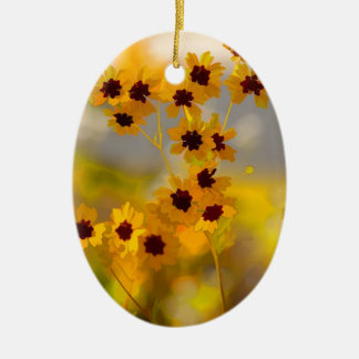 色彩の鮮やかなCoreopsisのtinctoriaの野生の花 セラミックオーナメント