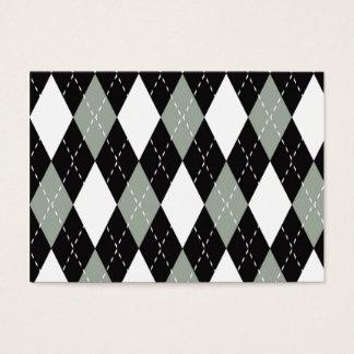 色彩アーガイル柄のな黒い、灰色、白い 名刺