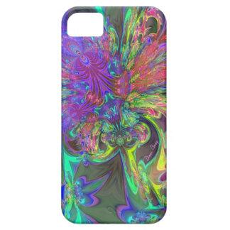 色-ティール(緑がかった色)及びすみれ色のDevaの白熱破烈 iPhone SE/5/5s ケース