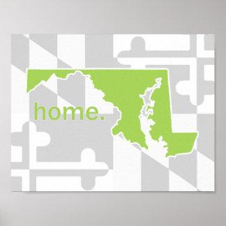 色-ライムグリーンのメリーランドの旗または州の破裂音 ポスター