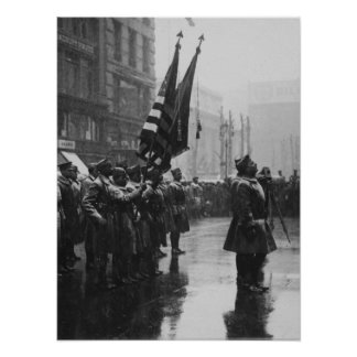 """色- 1919年--を戻している""""バッファロー""""の兵士 ポスター"""
