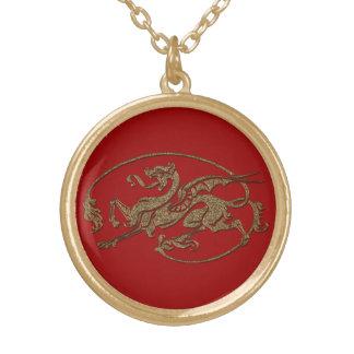 色BGのヴィンテージの旧世界のドラゴン ゴールドプレートネックレス