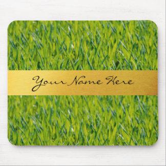 芝生の名前入りな金ストライプ マウスパッド