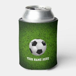 芝生のPersonalizableのサッカー|のフットボール 缶クーラー
