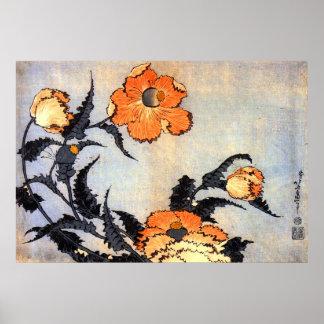 芥子の花、北斎のケシ、Hokusaiの浮世絵 ポスター