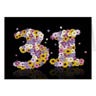 花いっぱいの手紙が付いている第31バースデー・カード カード