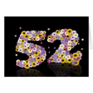 花いっぱいの手紙が付いている第52バースデー・カード カード
