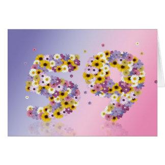 花いっぱいの手紙が付いている第59バースデー・カード カード