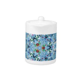 花いっぱいの青いフラクタルパターン