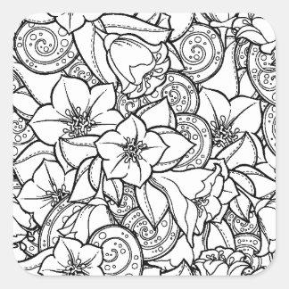 花いっぱいのZendoodle スクエアシール