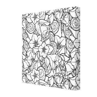 花いっぱいのZendoodle 6 キャンバスプリント