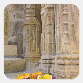 花およびコラムのJaisalmerの城砦、Jaisalmer、 スクエアシール