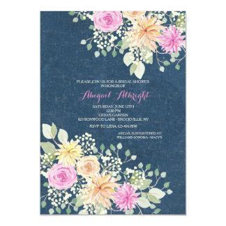 花およびデニムの招待状 カード