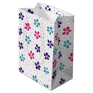 花およびドット・パターン ミディアムペーパーバッグ