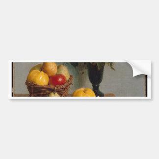 花およびフルーツが付いている静物画 バンパーステッカー