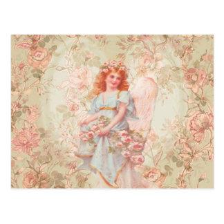 花および天使のヴィンテージのコラージュ ポストカード
