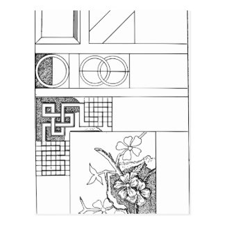 花および形の抽象的な織物のデザイン ポストカード