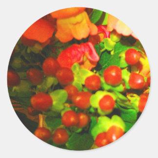 花および果実のステッカー ラウンドシール