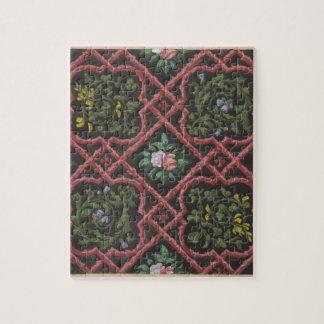 花および格子を特色にする壁紙のためのデザイン ジグソーパズル