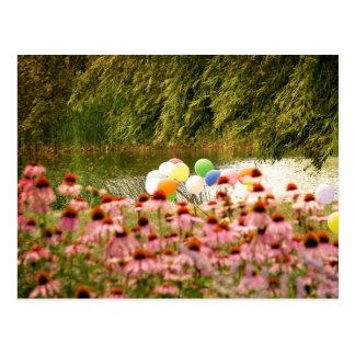 花および気球 ポストカード
