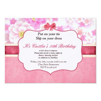 花および水玉模様の女性の誕生日の招待状 12.7 X 17.8 インビテーションカード