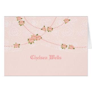 花および真珠名前入りなNotecard カード