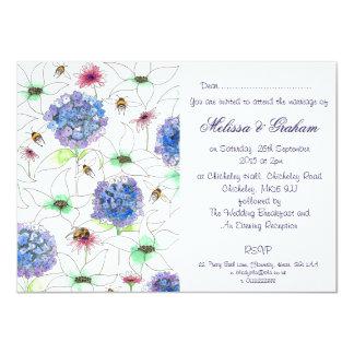 花および蜂の花の庭園の結婚式の招待状 カード