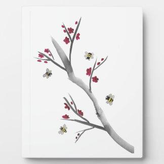 花および蜂 フォトプラーク