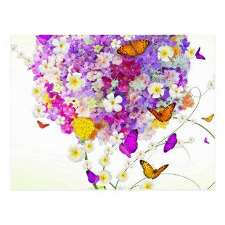 花および蝶の花束 ポストカード