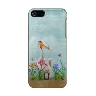 花および蝶を持つモモイロペリカン メタリックiPhone SE/5/5sケース