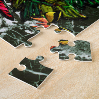 花および蝶を持つ蝶女性 ジグソーパズル