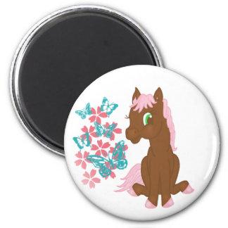 花および蝶磁石を持つブラウンの子馬 マグネット