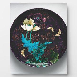 花および蝶-デッキを持つ充電器 フォトプラーク