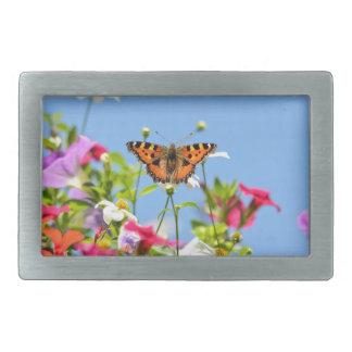 花および青空の蝶 長方形ベルトバックル