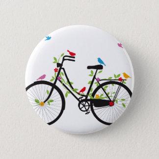 花および鳥が付いている古いヴィンテージの自転車 5.7CM 丸型バッジ