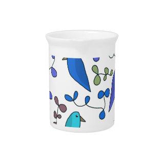 花および鳥-青 ピッチャー