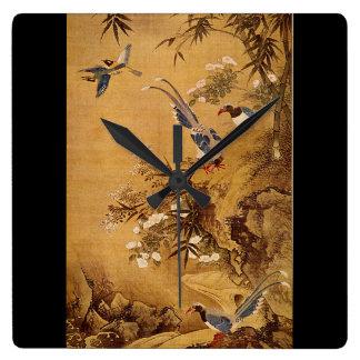 花およびBird', Hsiao Yung_The東洋 スクエア壁時計