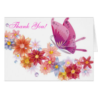 花およびButterlyのサンキューカード カード