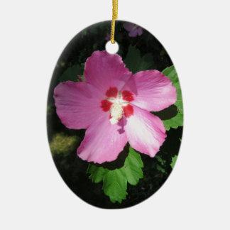 花かわいらしいピンクのムクゲ セラミックオーナメント