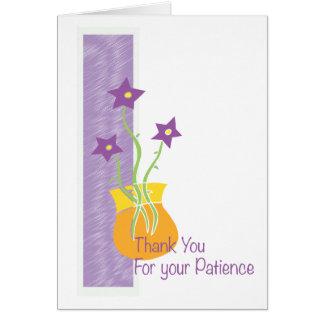 花が付いているあなたの忍耐カードを、ありがとう カード