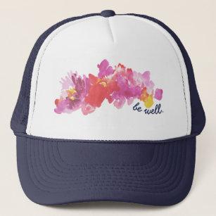 花が付いているガーリーなトラック運転手の帽子 キャップ