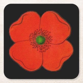 花が付いているコースター スクエアペーパーコースター