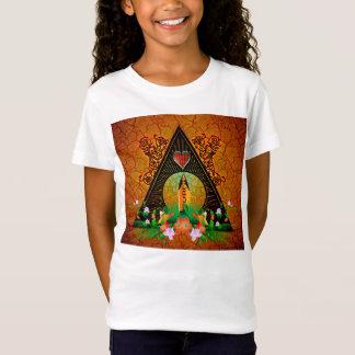 花が付いているサーフボード Tシャツ