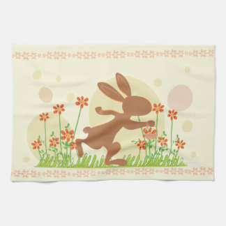 花が付いているチョコレートイースターのウサギ キッチンタオル