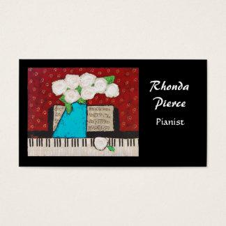 花が付いているピアニストの名刺 名刺