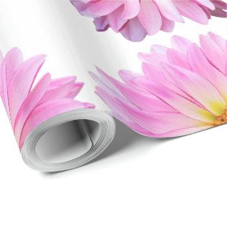 花が付いているピンクのダリアの花の包装紙 ラッピングペーパー